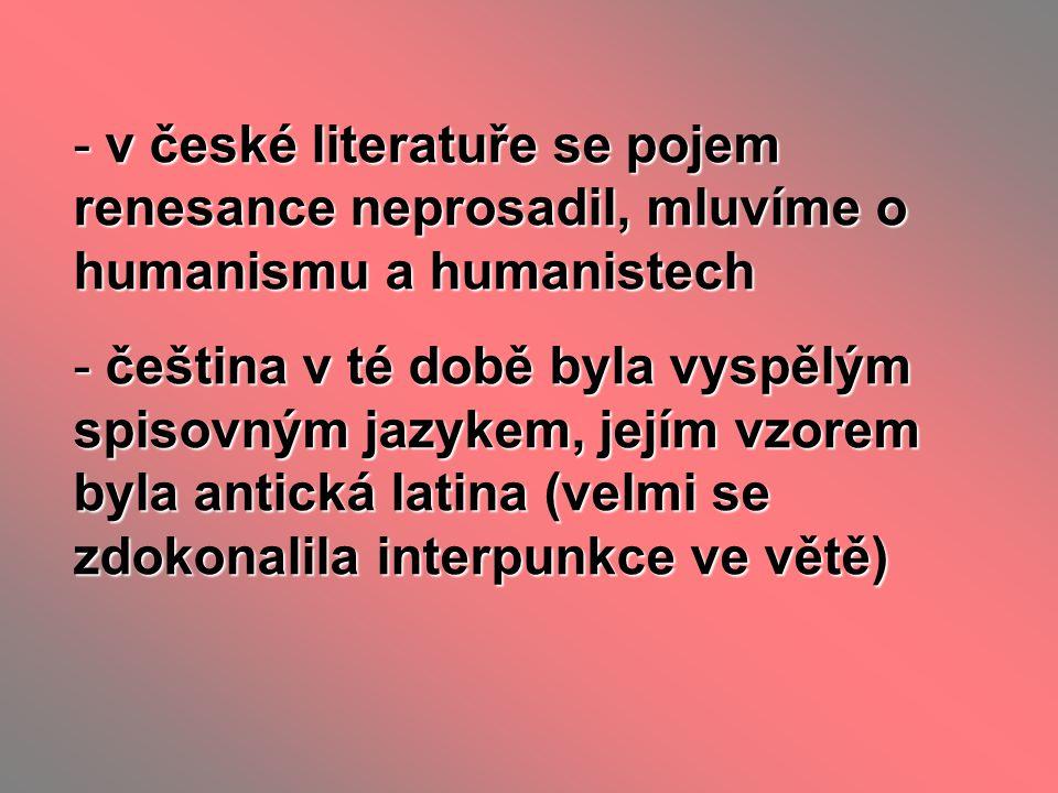 v české literatuře se pojem renesance neprosadil, mluvíme o humanismu a humanistech