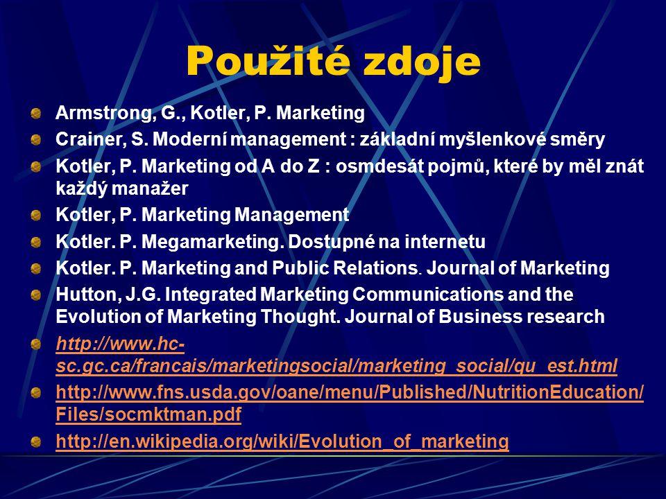 Použité zdoje Armstrong, G., Kotler, P. Marketing