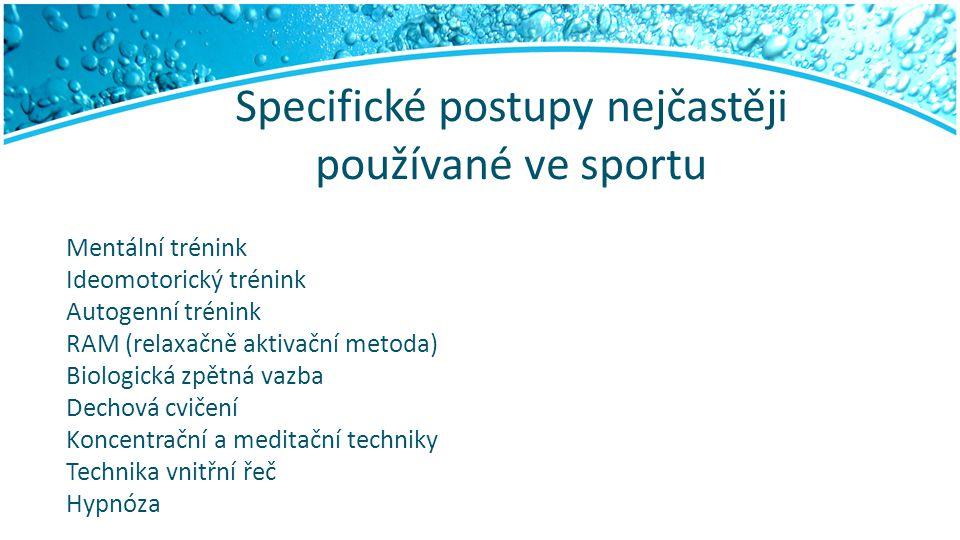 Specifické postupy nejčastěji používané ve sportu