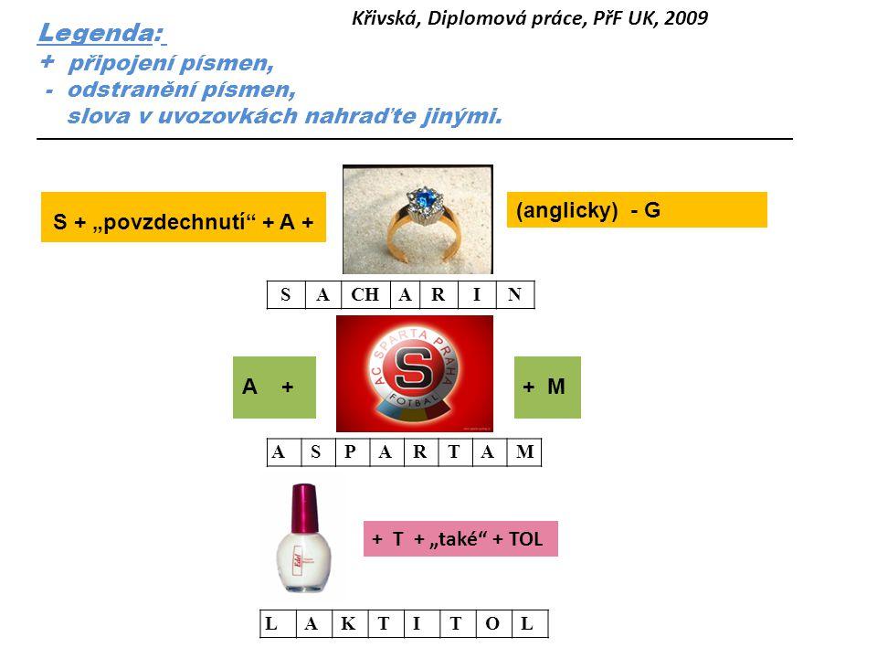 Legenda: + připojení písmen, Křivská, Diplomová práce, PřF UK, 2009