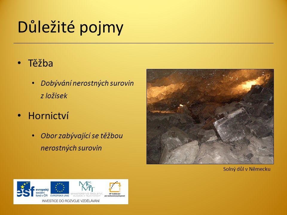 Důležité pojmy Těžba Hornictví Dobývání nerostných surovin z ložisek