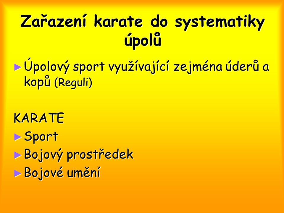 Zařazení karate do systematiky úpolů