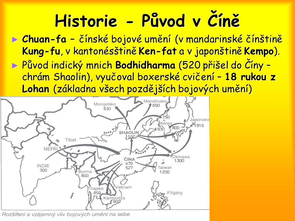 Historie - Původ v Číně Chuan-fa – čínské bojové umění (v mandarinské čínštině Kung-fu, v kantonésštině Ken-fat a v japonštině Kempo).
