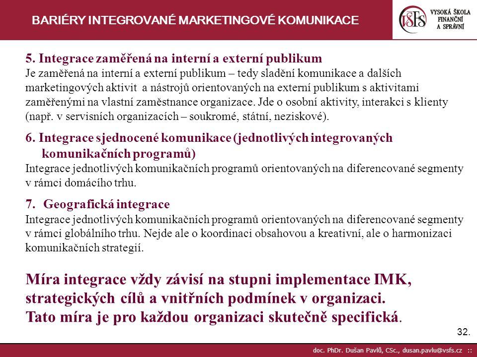 BARIÉRY INTEGROVANÉ MARKETINGOVÉ KOMUNIKACE