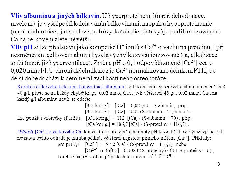 Vliv albuminu a jiných bílkovin: U hyperproteinemií (např