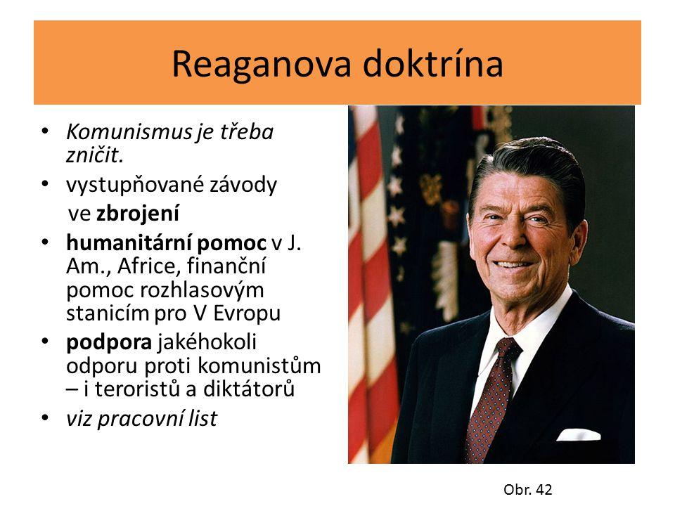 Reaganova doktrína Komunismus je třeba zničit. vystupňované závody