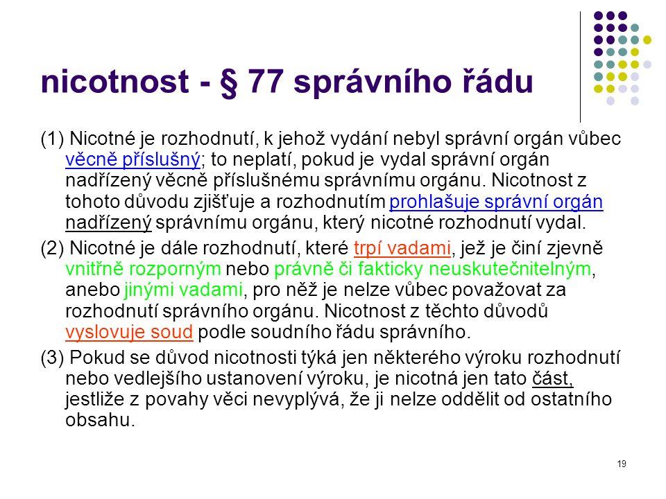 nicotnost - § 77 správního řádu