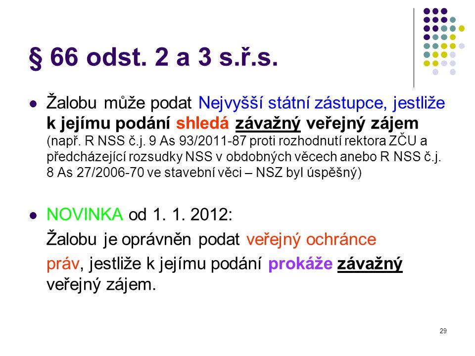 § 66 odst. 2 a 3 s.ř.s.