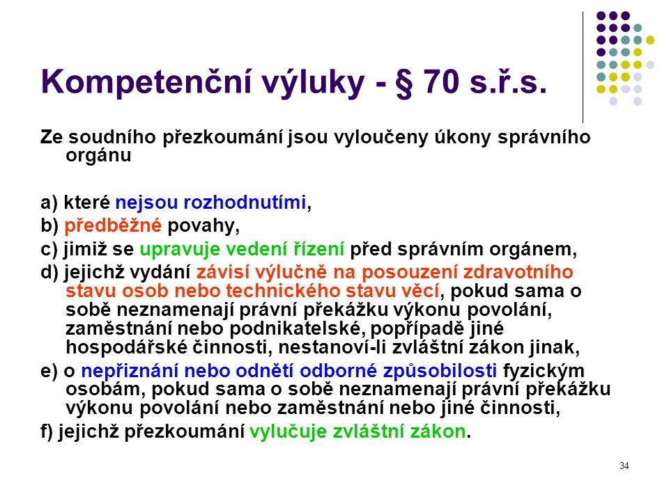 Kompetenční výluky - § 70 s.ř.s.