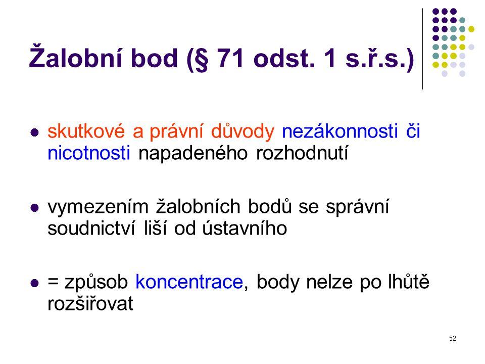 Žalobní bod (§ 71 odst. 1 s.ř.s.)