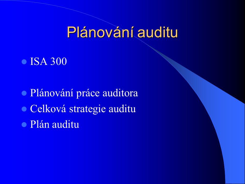 Plánování auditu ISA 300 Plánování práce auditora