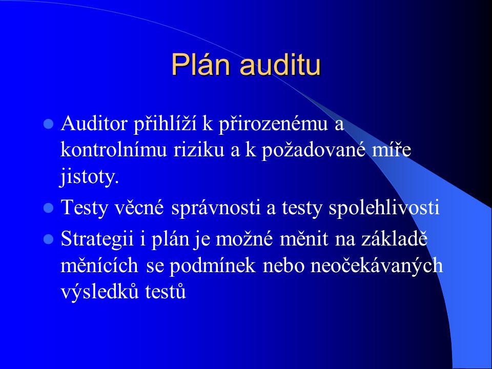 Plán auditu Auditor přihlíží k přirozenému a kontrolnímu riziku a k požadované míře jistoty. Testy věcné správnosti a testy spolehlivosti.