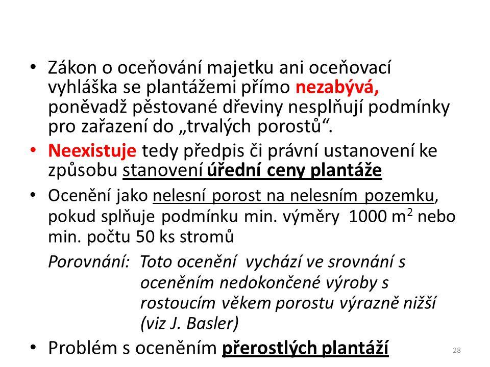 Problém s oceněním přerostlých plantáží