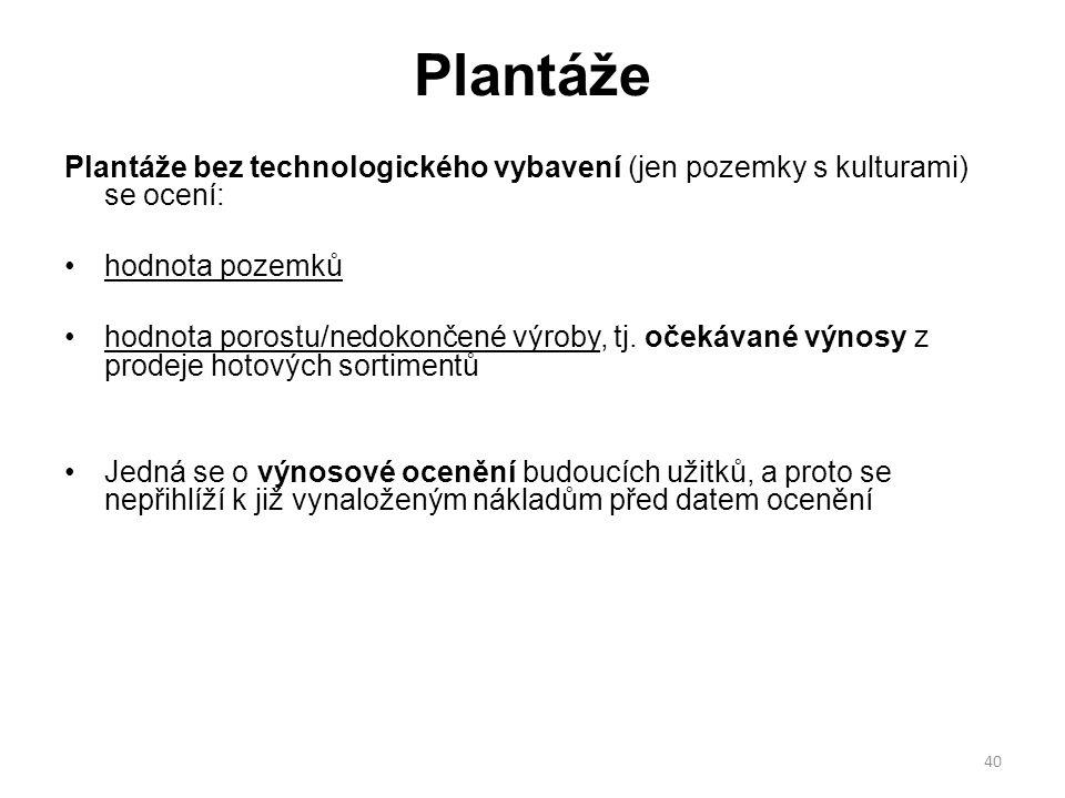 Plantáže Plantáže bez technologického vybavení (jen pozemky s kulturami) se ocení: hodnota pozemků.