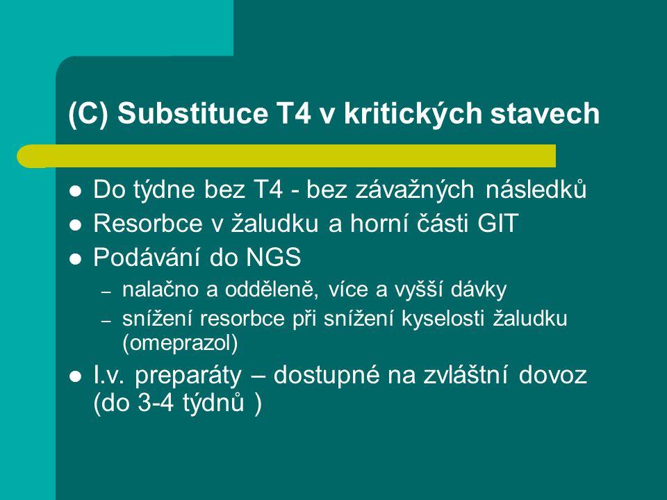 (C) Substituce T4 v kritických stavech