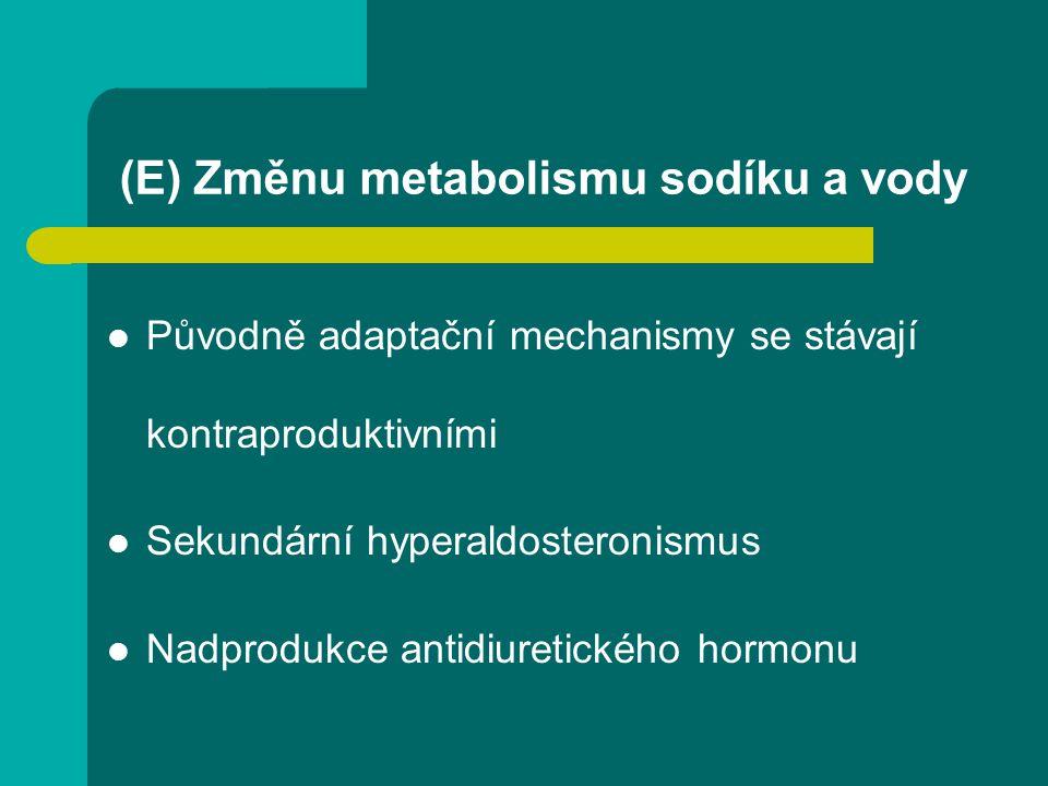(E) Změnu metabolismu sodíku a vody