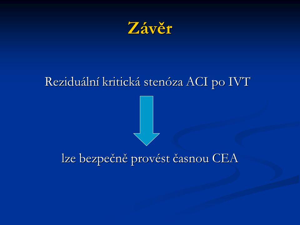 Závěr Reziduální kritická stenóza ACI po IVT