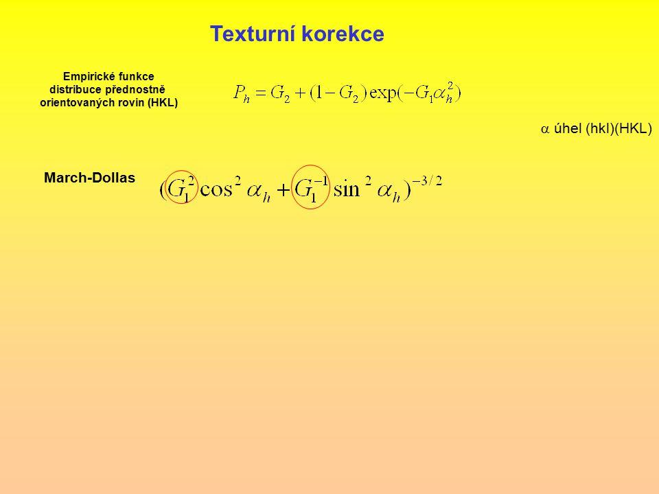Empirické funkce distribuce přednostně orientovaných rovin (HKL)