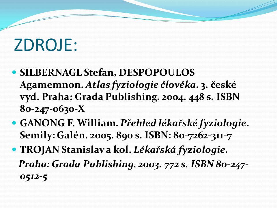ZDROJE: SILBERNAGL Stefan, DESPOPOULOS Agamemnon. Atlas fyziologie člověka. 3. české vyd. Praha: Grada Publishing. 2004. 448 s. ISBN 80-247-0630-X.