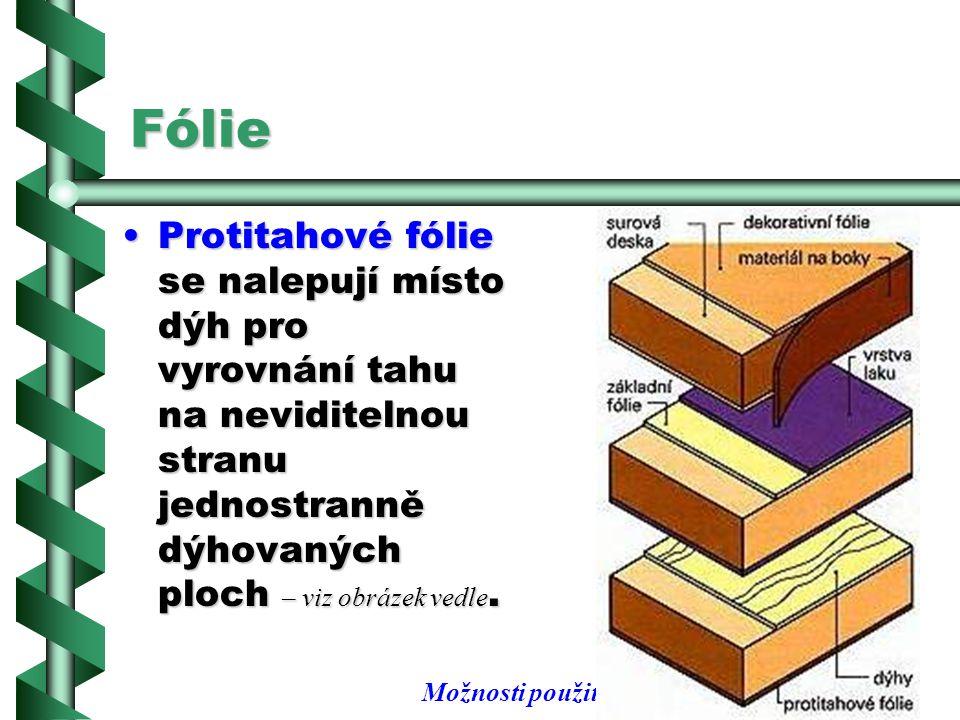 Fólie Protitahové fólie se nalepují místo dýh pro vyrovnání tahu na neviditelnou stranu jednostranně dýhovaných ploch – viz obrázek vedle.