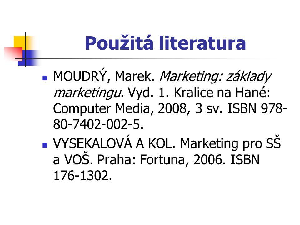 Použitá literatura MOUDRÝ, Marek. Marketing: základy marketingu. Vyd. 1. Kralice na Hané: Computer Media, 2008, 3 sv. ISBN 978-80-7402-002-5.