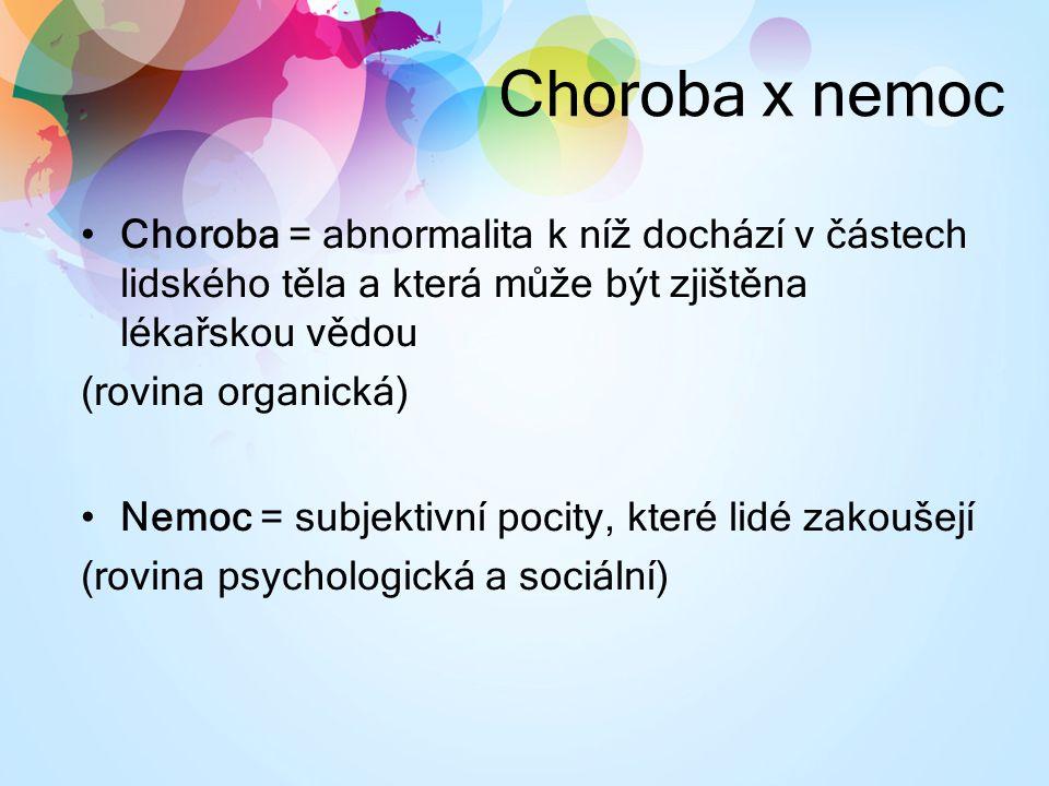 Choroba x nemoc Choroba = abnormalita k níž dochází v částech lidského těla a která může být zjištěna lékařskou vědou.