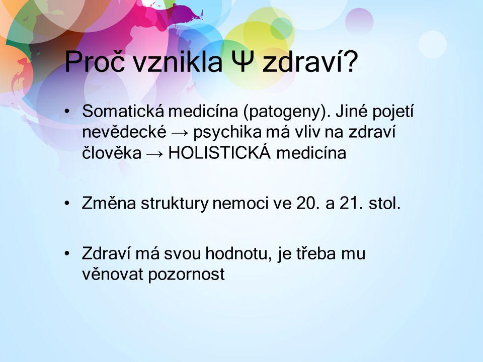 Proč vznikla Ψ zdraví Somatická medicína (patogeny). Jiné pojetí nevědecké → psychika má vliv na zdraví člověka → HOLISTICKÁ medicína.