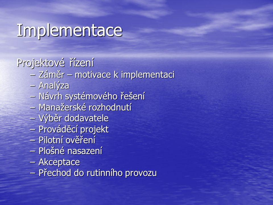 Implementace Projektové řízení Záměr – motivace k implementaci Analýza