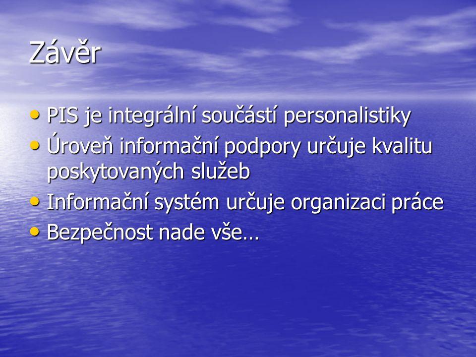 Závěr PIS je integrální součástí personalistiky