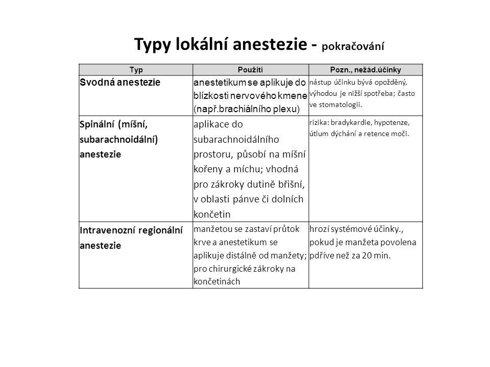 Typy lokální anestezie - pokračování