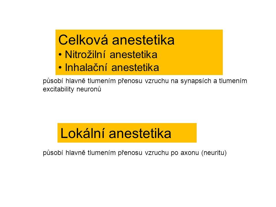 Celková anestetika Lokální anestetika Nitrožilní anestetika