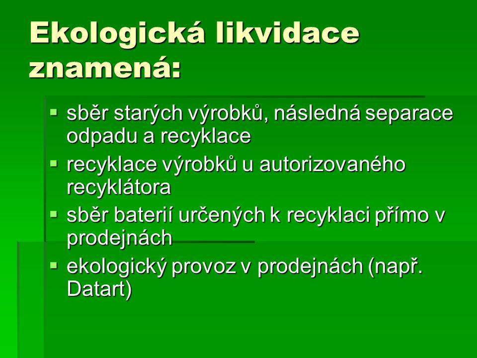 Ekologická likvidace znamená: