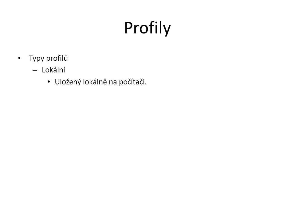Profily Typy profilů Lokální Uložený lokálně na počítači.