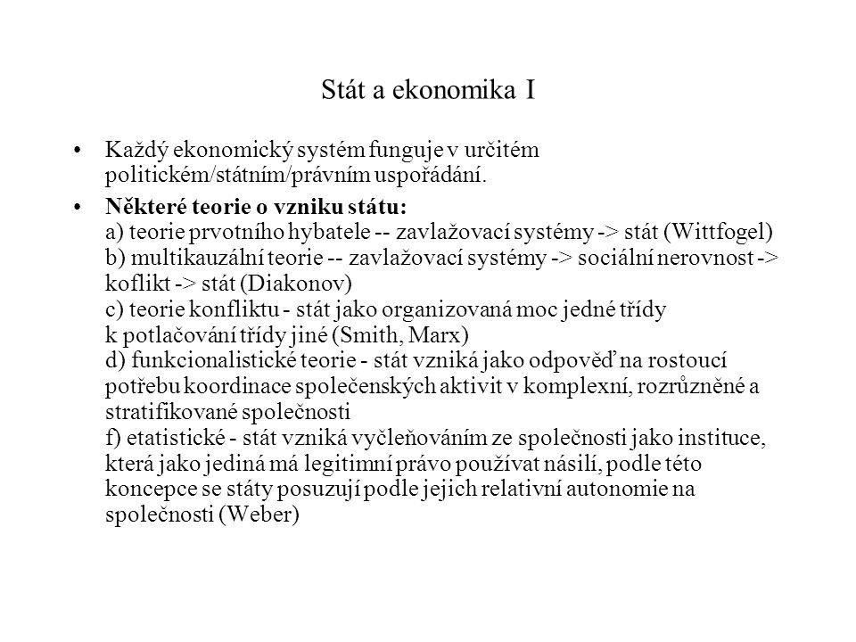 Stát a ekonomika I Každý ekonomický systém funguje v určitém politickém/státním/právním uspořádání.