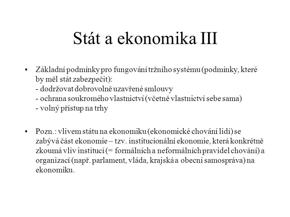 Stát a ekonomika III