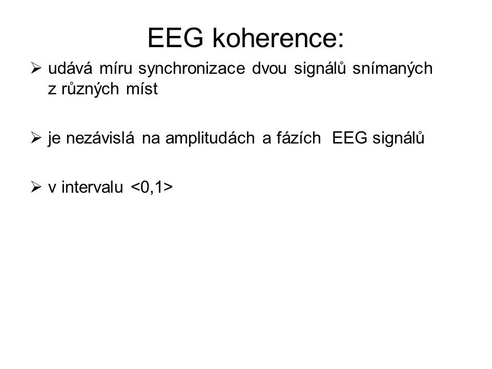 EEG koherence: udává míru synchronizace dvou signálů snímaných z různých míst. je nezávislá na amplitudách a fázích EEG signálů.