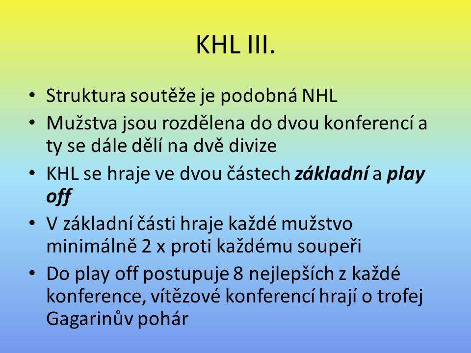 KHL III. Struktura soutěže je podobná NHL