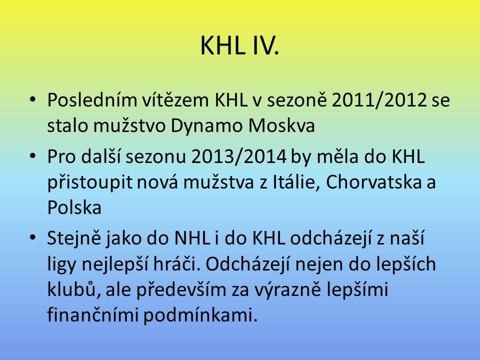 KHL IV. Posledním vítězem KHL v sezoně 2011/2012 se stalo mužstvo Dynamo Moskva.