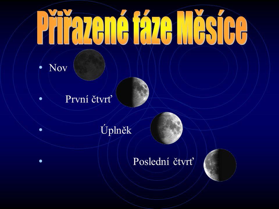 Přiřazené fáze Měsíce Nov První čtvrť Úplněk Poslední čtvrť