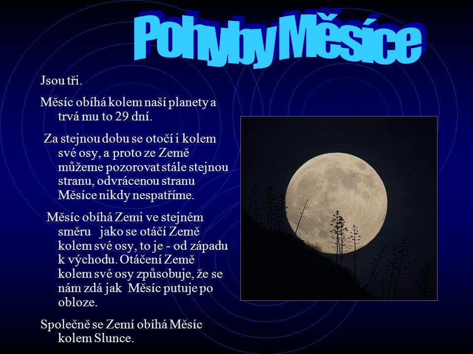 Pohyby Měsíce Jsou tři. Měsíc obíhá kolem naší planety a trvá mu to 29 dní.