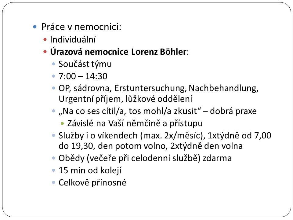Práce v nemocnici: Individuální Úrazová nemocnice Lorenz Böhler: