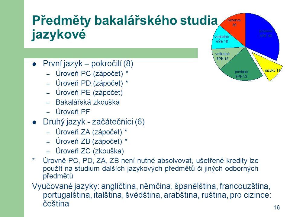 Předměty bakalářského studia jazykové