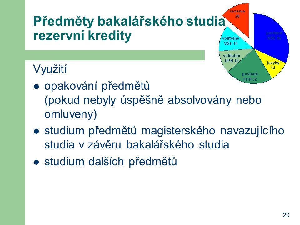 Předměty bakalářského studia rezervní kredity