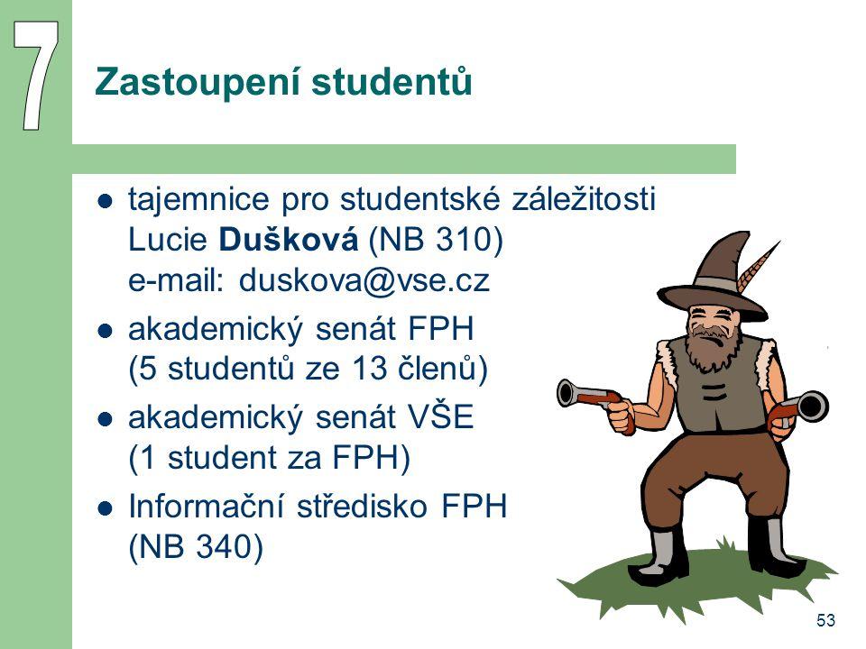 7 Zastoupení studentů. tajemnice pro studentské záležitosti Lucie Dušková (NB 310) e-mail: duskova@vse.cz.