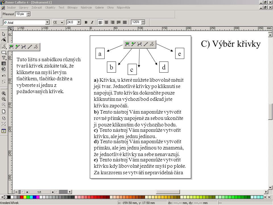 C) Výběr křivky a. e.