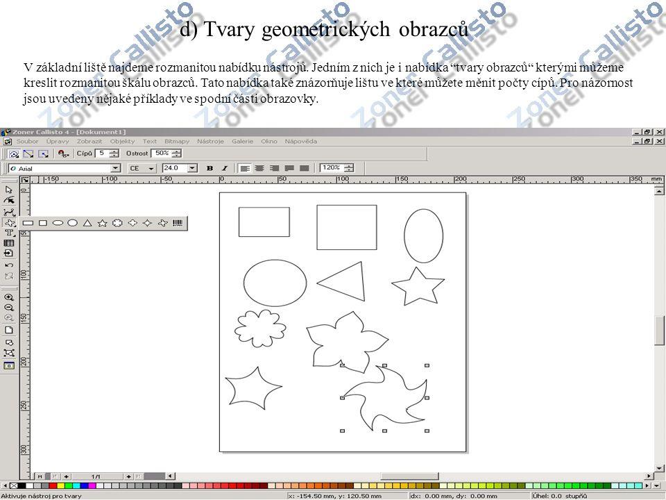 d) Tvary geometrických obrazců