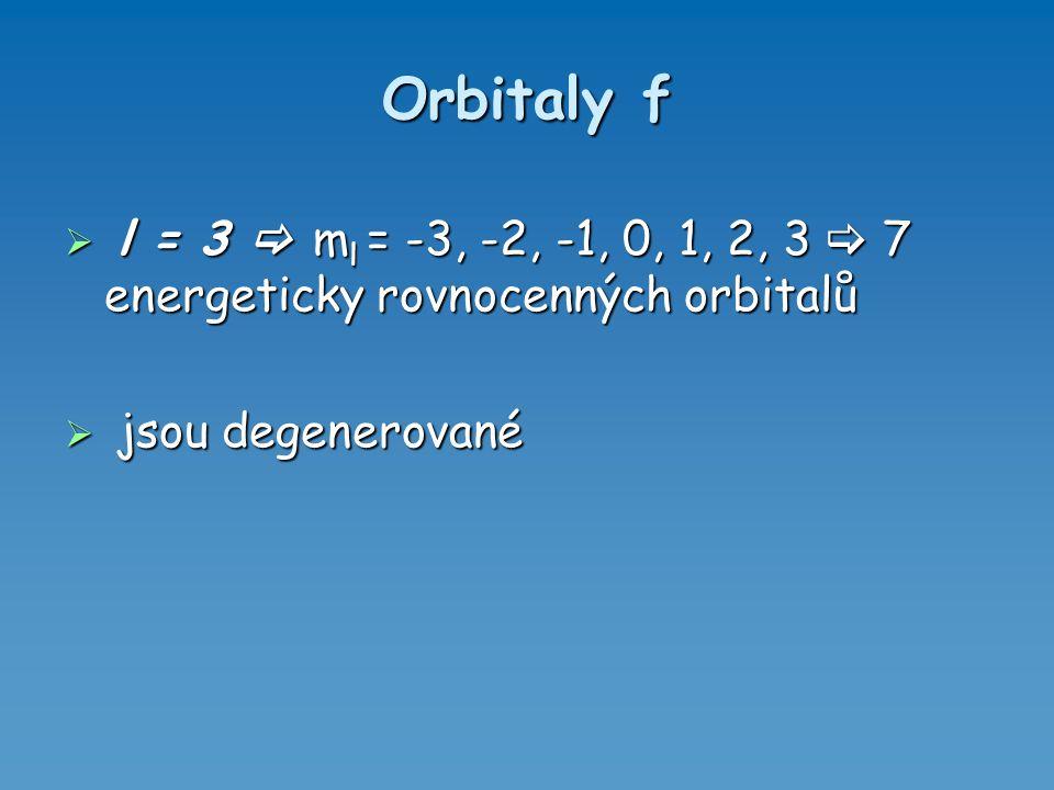 Orbitaly f l = 3  ml = -3, -2, -1, 0, 1, 2, 3  7 energeticky rovnocenných orbitalů.