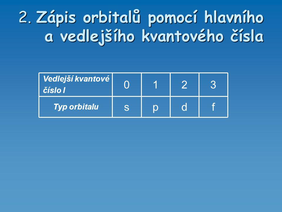 2. Zápis orbitalů pomocí hlavního a vedlejšího kvantového čísla