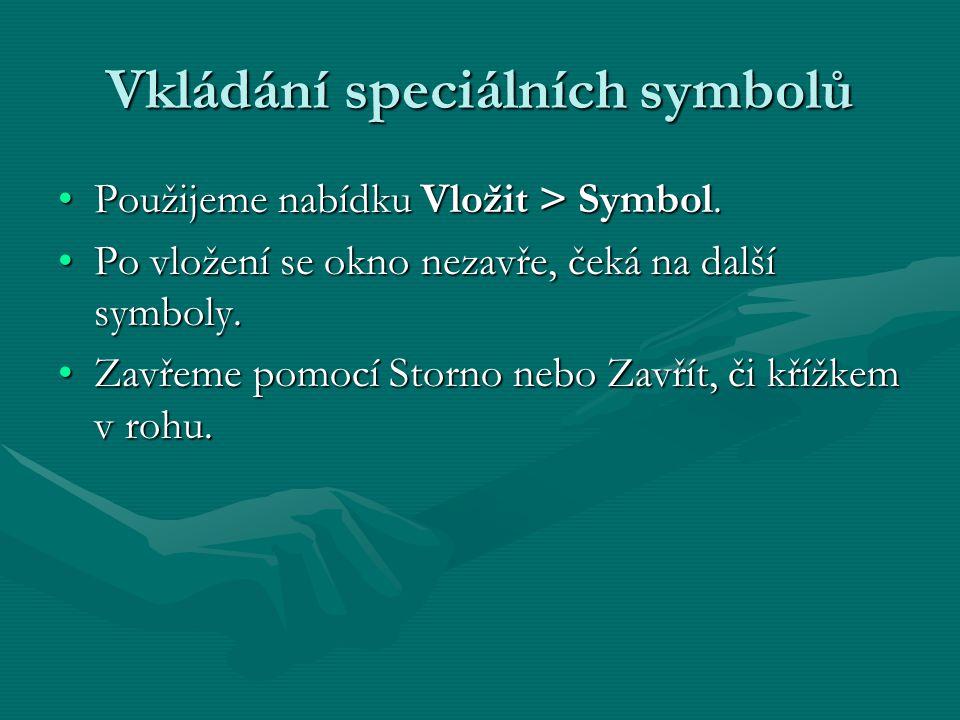 Vkládání speciálních symbolů