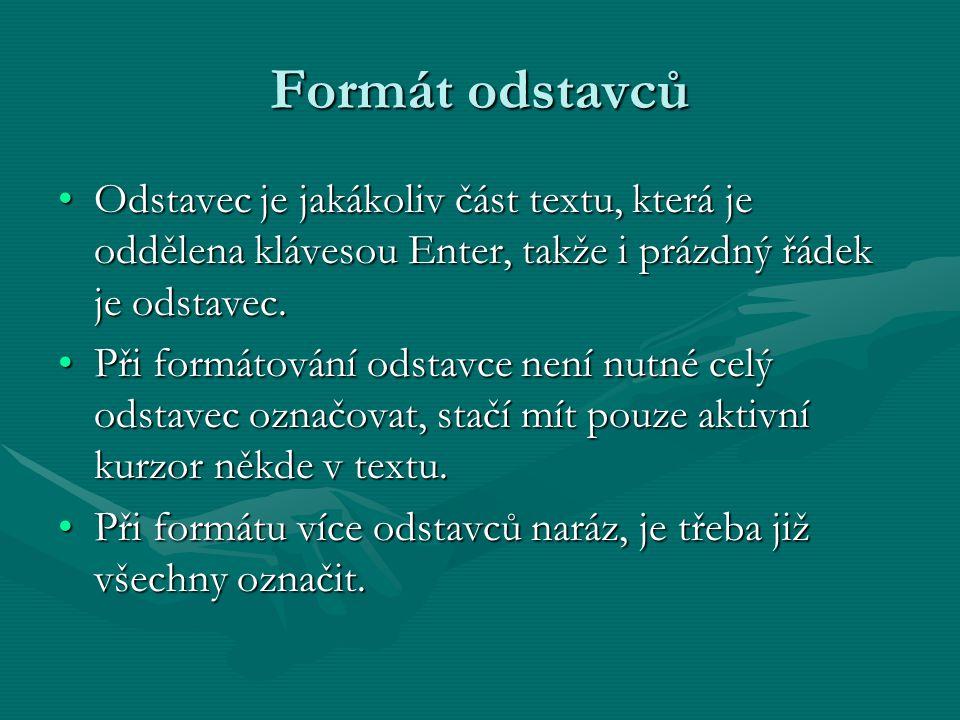 Formát odstavců Odstavec je jakákoliv část textu, která je oddělena klávesou Enter, takže i prázdný řádek je odstavec.